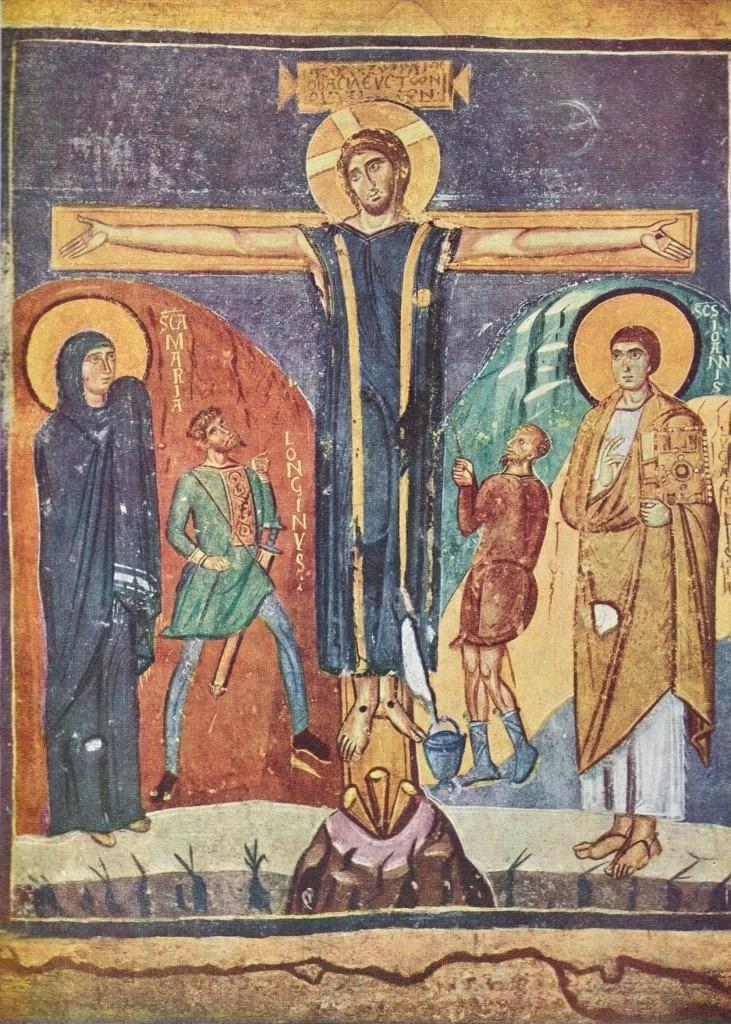 Santa Maria Antiqua, Cappella di Teodoto, Crocifissione (prima metà dell'VIII secolo, photo credits: Gaetano Alfano)