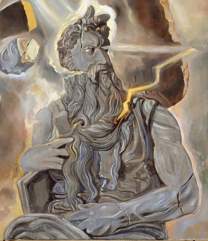 Salvador Dalì, Senza titolo. Mosè dalla tomba di Giulio II di Michelangelo (1982, olio su tela, Figueres, Fundació Gala-Salvador Dalì, photo credits: arslife.com)