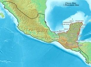 Mappa dei territori appartenenti alla civiltà Maya con indicate le città – stato succedute nei diversi periodi (photo credits: Wikipedia)