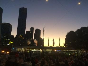 Federation Square at dusk