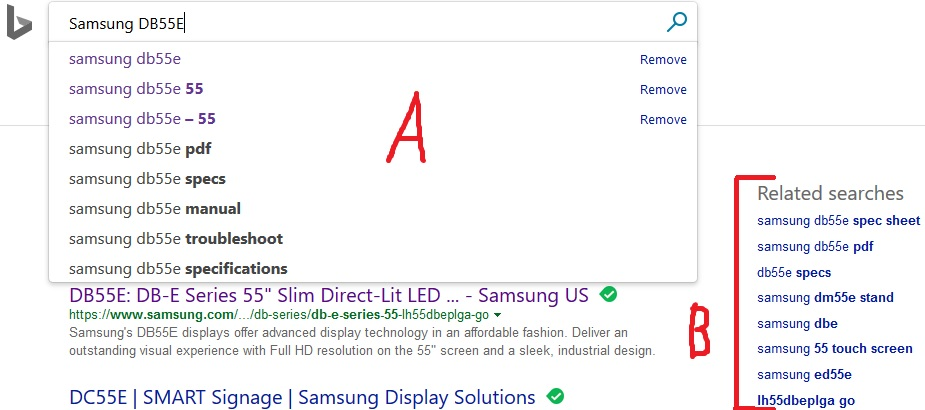 Bing Auto-Suggestions And Related Keywords