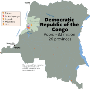 Democratic Republic of the Congo Ebola virus disease outbreak map.
