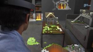 Minecraft в очках Hololens