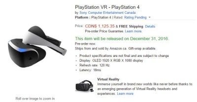 Цена на PlaystationVR на Amazon