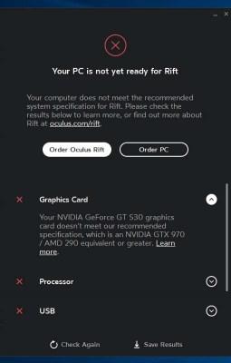 Окно показывающее, что компьютер не подходит для виртуальной реальности