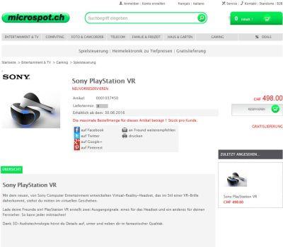 Цена PlaystationVR может составить 500 долларов