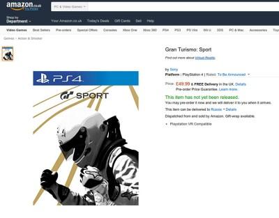 Gran Turismo SPORT получит поддержку Playstation VR