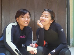 the wetsuits look good on us!