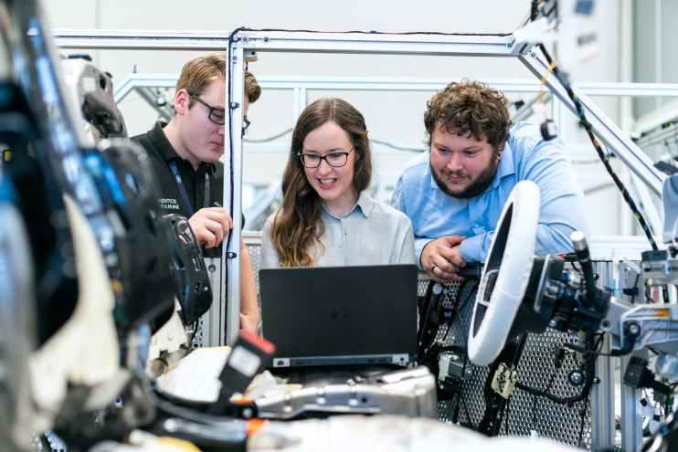 engineers in workshop