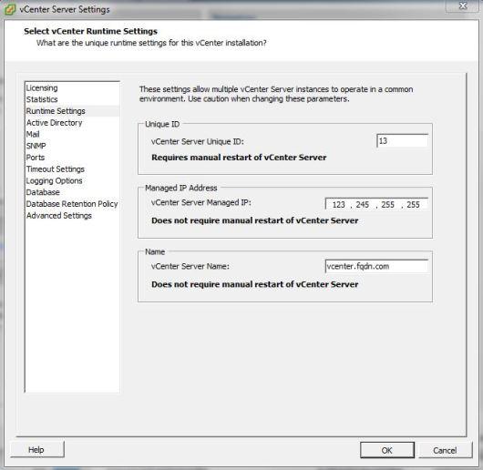 vCenter Runtime Settings