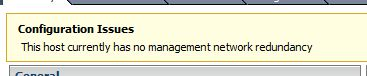 Management Network Redundancy Warning