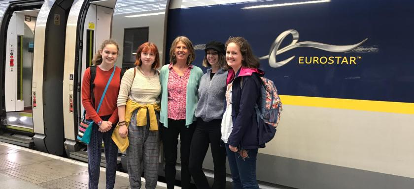 Climate Change activists Juliette Chandler, Lily Mills, Gina Dowding MEP, Milly Prosser and Rosie Mills