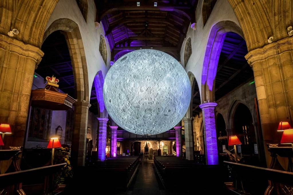 Museum of the Moon by Luke Jerram in Lancaster Priory. Photo: Robin Zahler