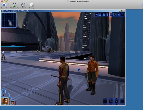 KOTOR under XP VMWare Fusion in a window windowed