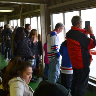 Inside the ferry, a 25-minute trip between Staten Island and Manhattan.