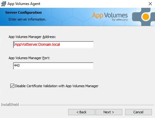 VMware App Volumes 2.12 Agent Install