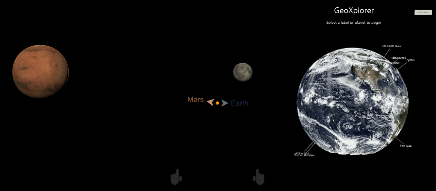 Menu set up for the Earth, Moon and Mars
