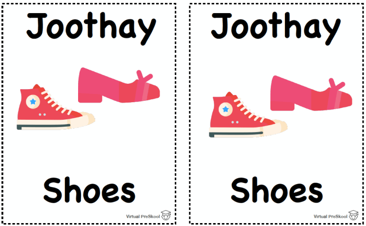 Hindi Matching Game Vocabulary Joothay Shoes