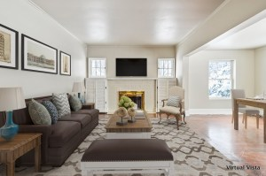 family room virtually staged with furniture