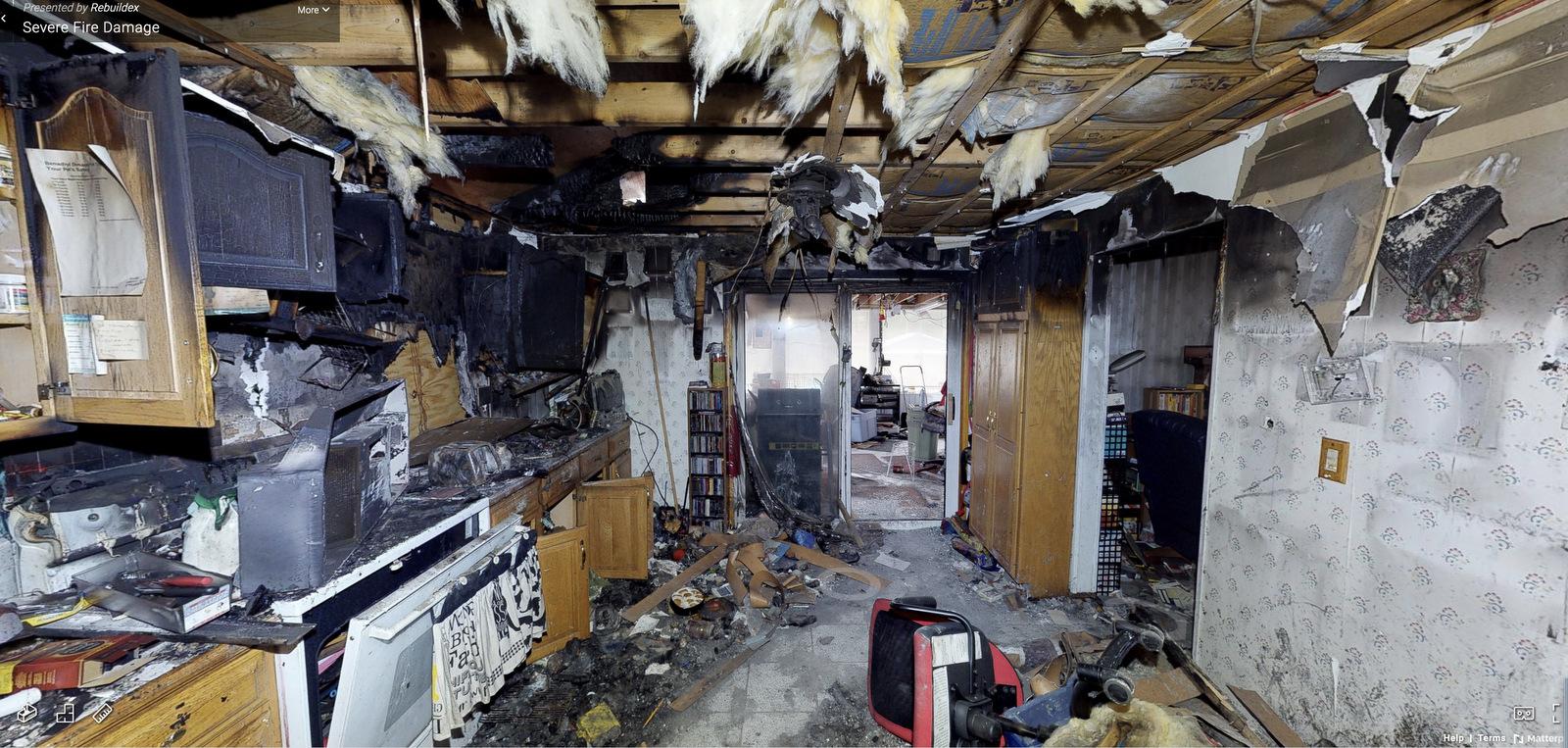 3D virtual tour of fire damaged home