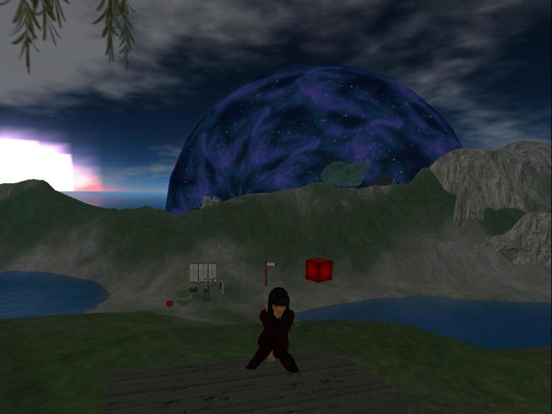 JIE Virtual World: Enjoying sitting at picnic table  at campfire hill