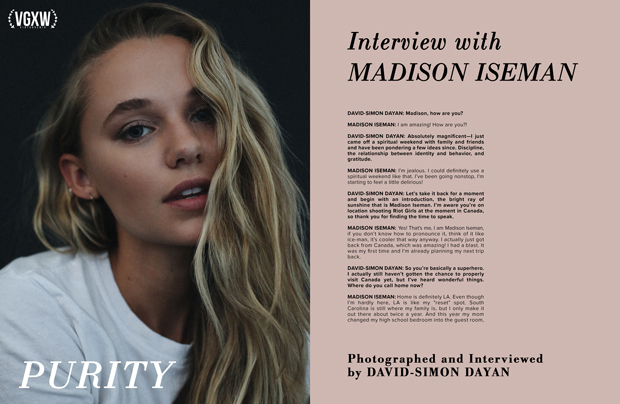 Interview with actor Madison Iseman by David-Simon Dayan for VGXW Magazine | virtuogenix.online