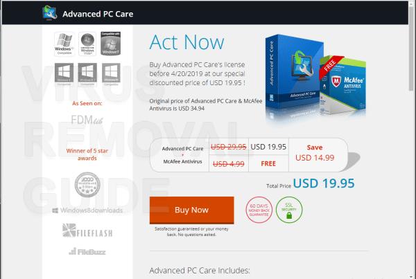 Advanced PC Care adware
