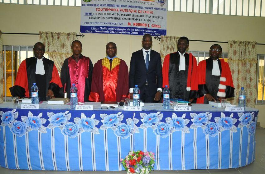 Soutenance de thèse « L'indépendance du pouvoir judiciaire dans les Etats d'Afrique francophone : cas du Bénin et du Sénégal » : NONNOU E. Gildas Fiacre élevé au grade de docteur en droit privé avec la mention très honorable