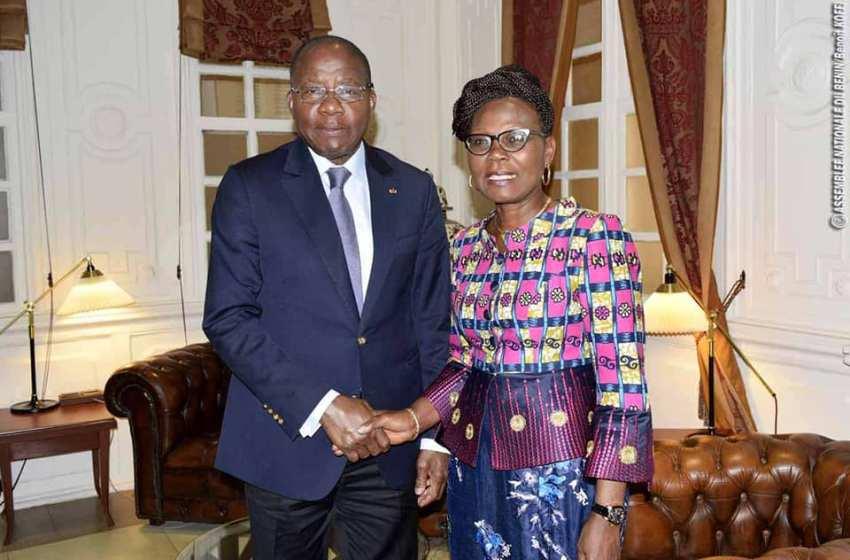Audience : La présidente de la HCJ  et le chef de la délégation de l'UE au Cabinet du président Adrien Houngbédji