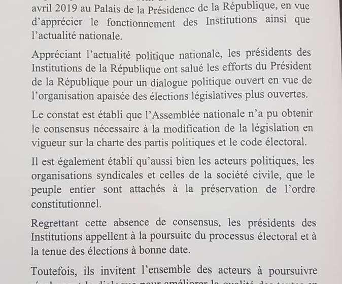 Législatives du 28 avril 2019 : Les présidents d'Institution optent pour la poursuite du processus électoral en cours