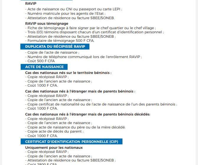 BON A SAVOIR: Liste des pièces à fournir pour l'enrôlement au RAVIP, l'obtention d'Acte de Naissance, le Certificat d'Identification Personnelle…