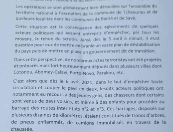 Bénin / Violences électorales : Sacca LAFIA fait le point