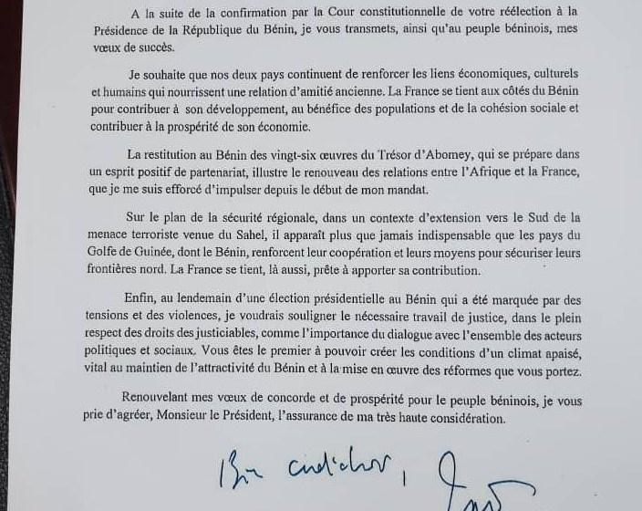 France/Bénin: Les vœux de succès du Président Macron au Président Talon