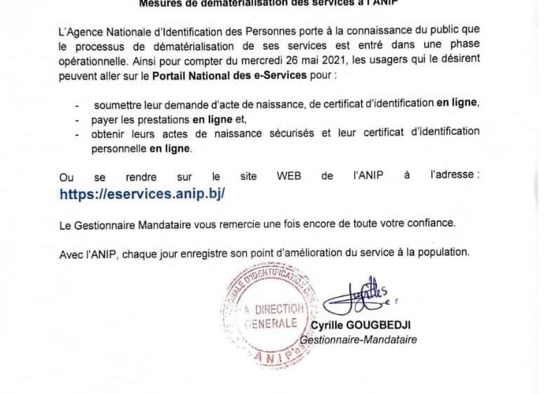 Bénin / Digitalisation des services publics: Les demandes d'Acte de naissance et de CIP complètent désormais la liste