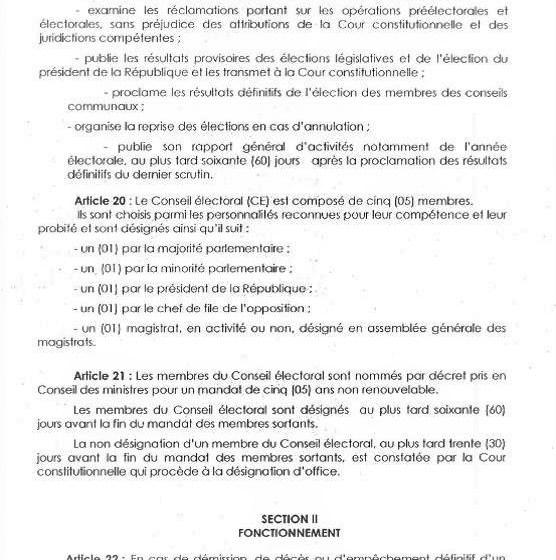 Bénin / CENA: Les 05 membres du Conseil électoral connus