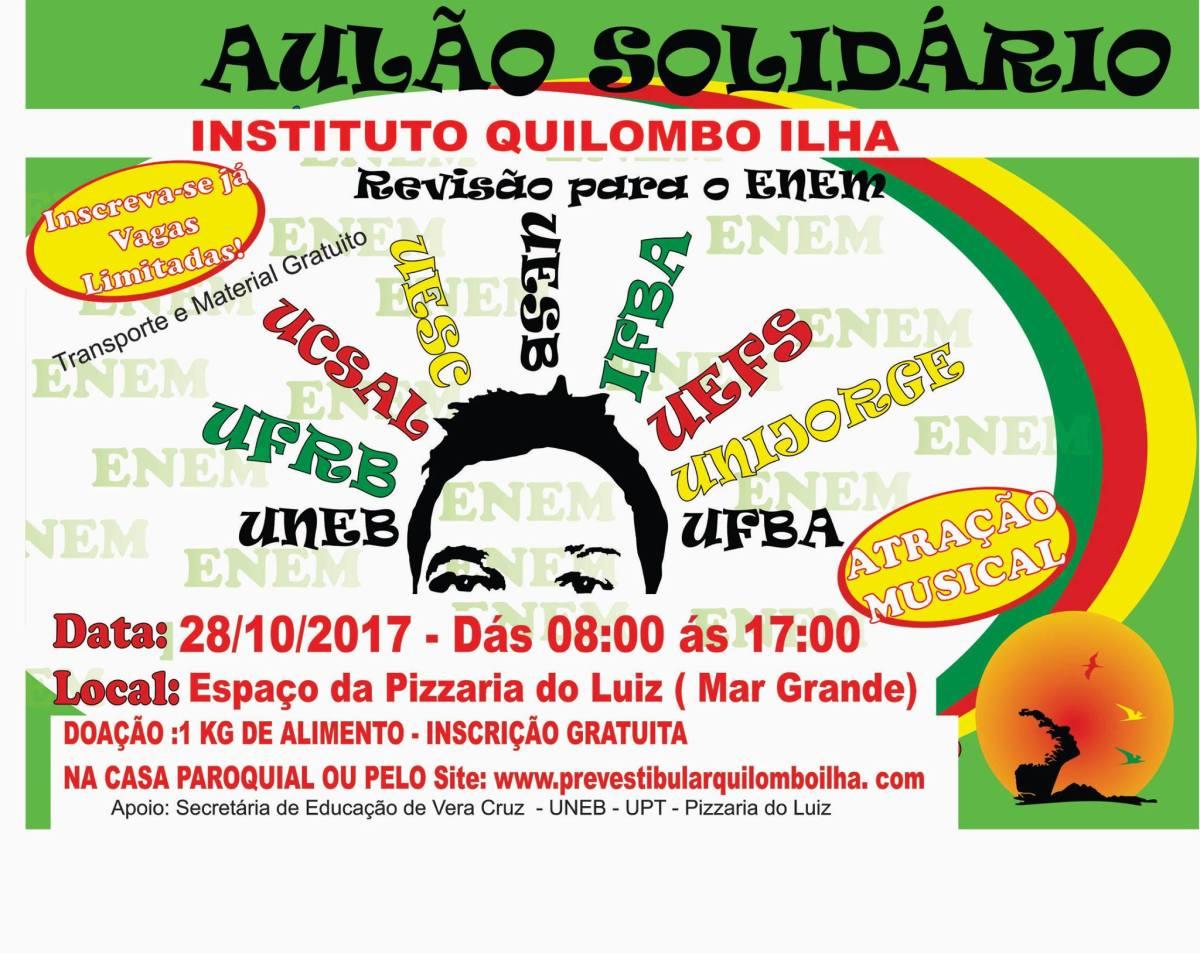 Aulão: Instituto Quilombo Ilha abre inscrição gratuita para de Revisão do Enem