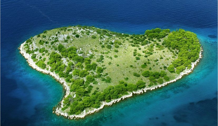 Galešnjak Island is likely the largest and most accurately defined heart-shaped island in the world