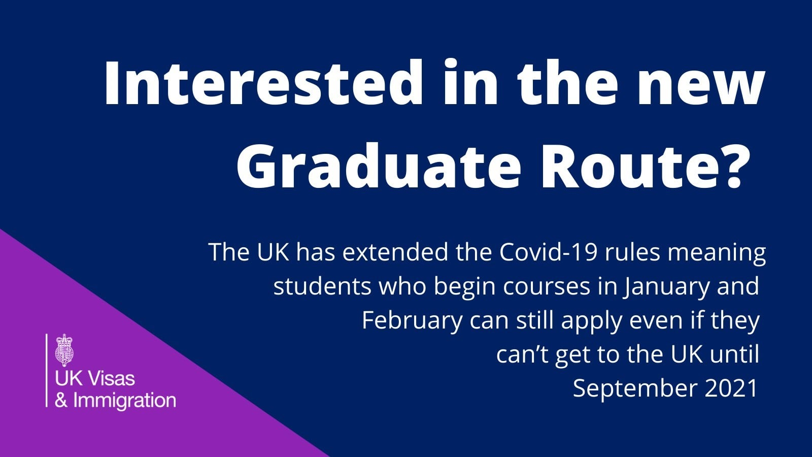 Route is for international students who want to work following the successful completion of a course of study at UK bachelor's degree-level or above.