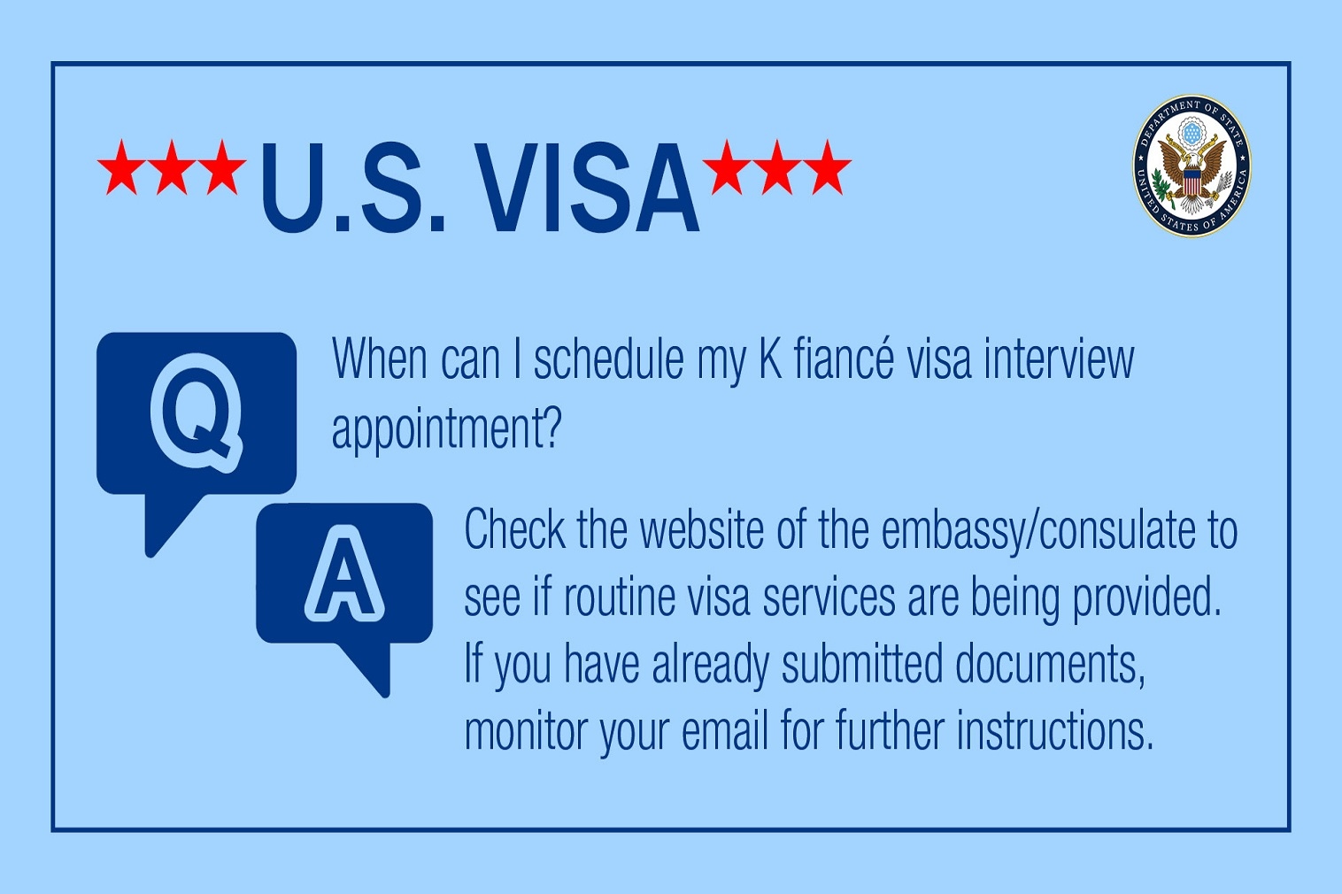 The Department of State is committed to sharing the current status of our worldwide visa operations.
