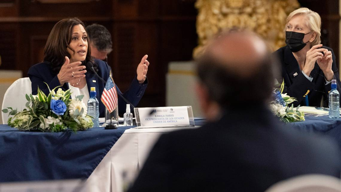 """But Harris warned Guatemalans, """"Do not come"""" to the U.S. """"We're not afraid to enforce our laws and borders,"""" she declared."""