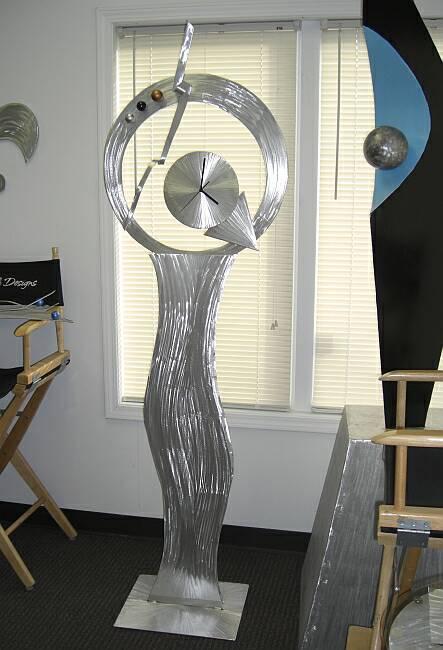 Contemporary Standing Clock Abstract Floor Design Clock In Brushed Aluminum Floor Standin