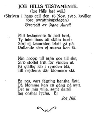 Joe Hills testamente