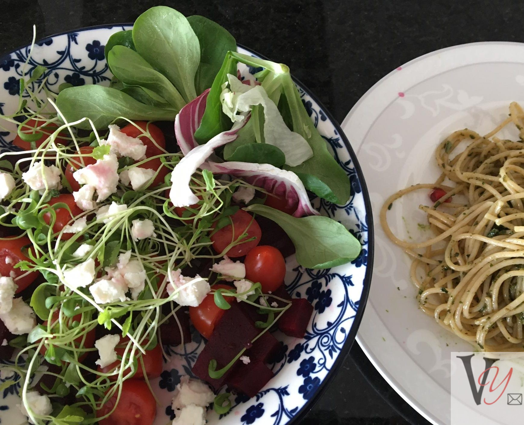 Pasta with colourful Salad