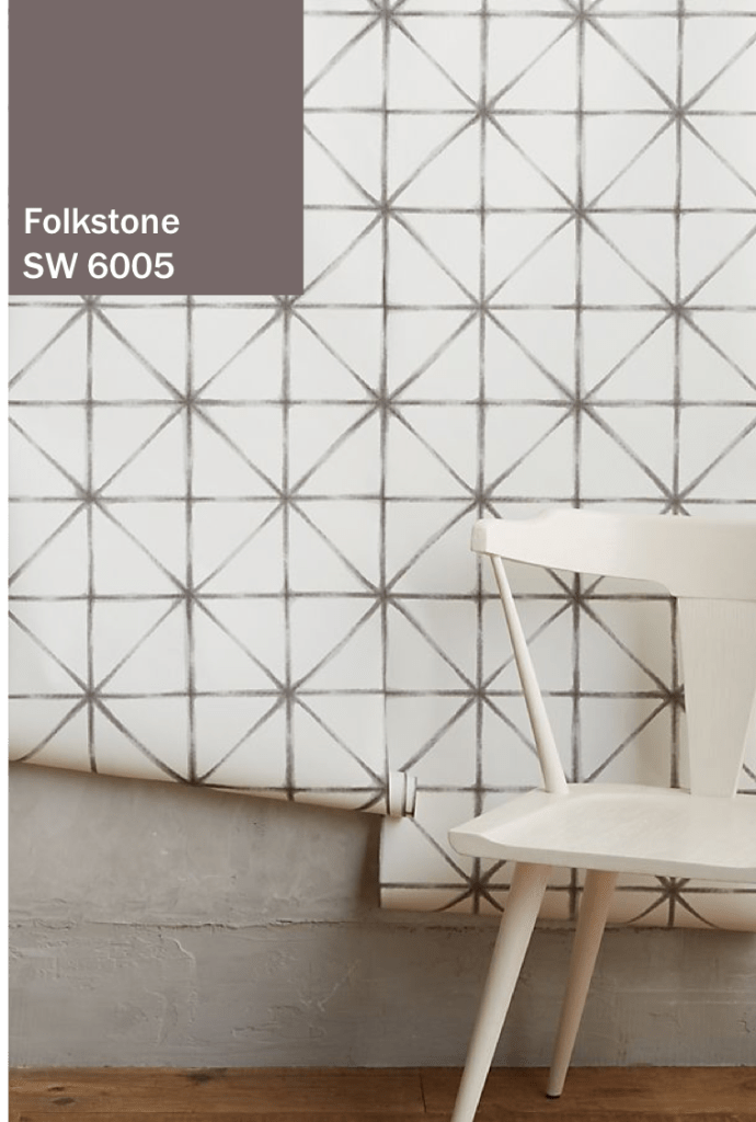 Folkstone Grey Paint with white wallpaper