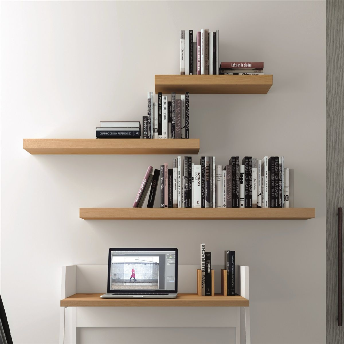 Floating Shelves with books