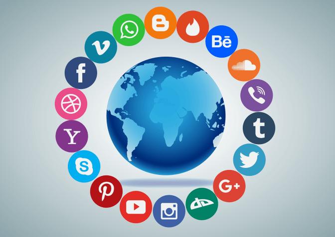 Social platform logos rotating around the globe