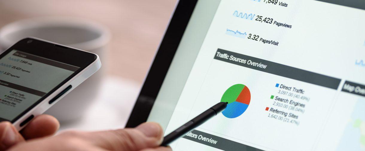 Marketing data on a computer screen.