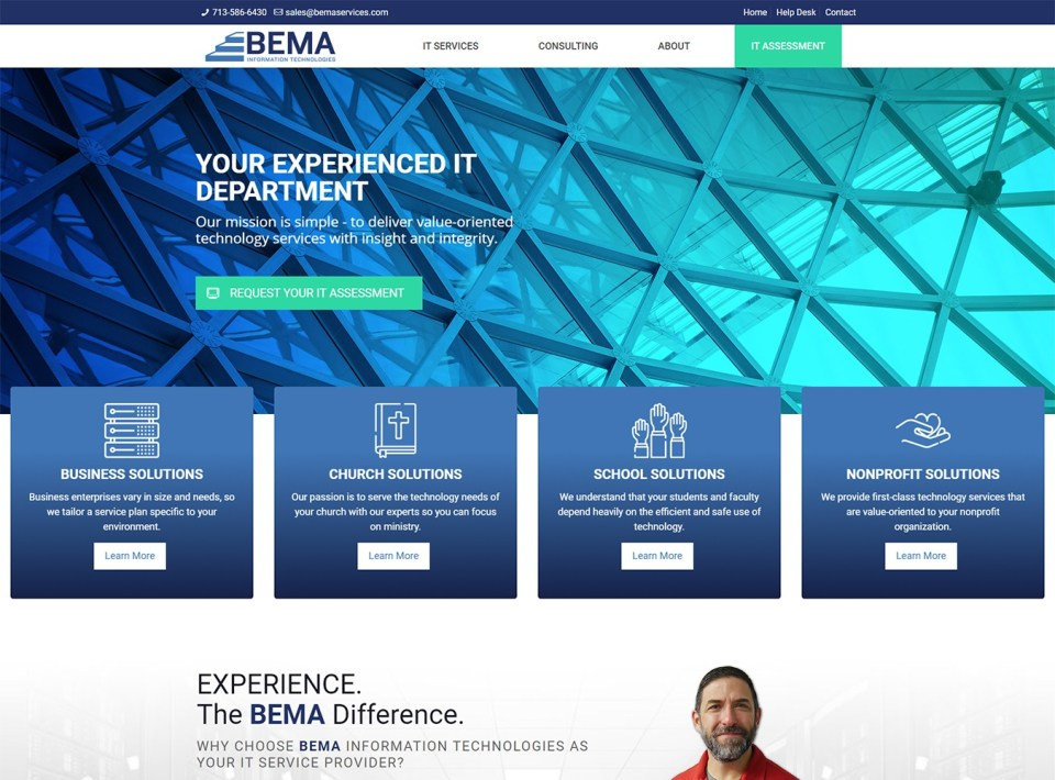 BEMA Information Technologies Website Development by Visibly Connected