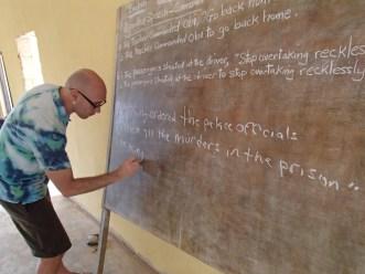 George teaching English
