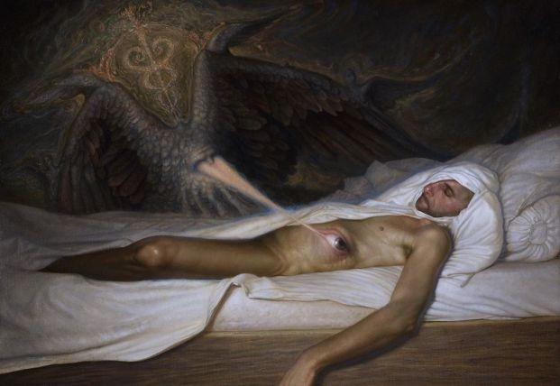 L'occhio dell'Angelo' by Adrian Ofida, oil on canvas, 58,5x84,5, 2019